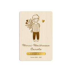 Carte postale en bois souvenir portrait enfant, cadeau maîtresse