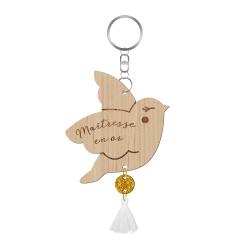 Porte-clef oiseau en bois, cadeau original maîtresse