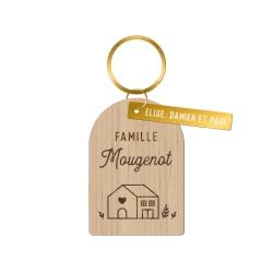 Porte-clés personnalisé en bois maison