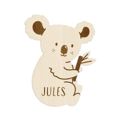 Enseigne en bois personnalisée, chambre enfant koala