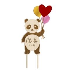 Cake topper anniversaire personnalisé panda avec ballons