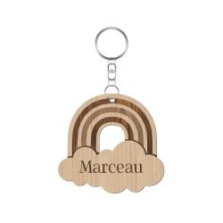 Porte-clé en bois personnalisé arc-en-ciel, cadeau naissance