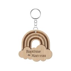 Cadeau original baptême arc-en-ciel, porte-clés en bois