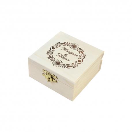 Boîte à alliances en bois personnalisée, mariage fleuri