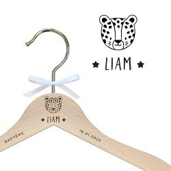 Cintre enfant en bois personnalisé léopard