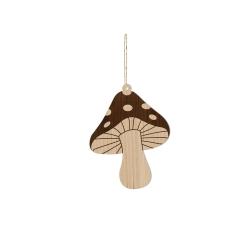 Décoration en bois champignon, suspension sapin de Noël