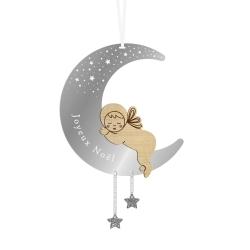 Suspension boule de Noël original, lune et bébé