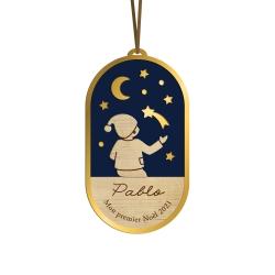 Boule de Noël personnalisée nuit céleste enfant