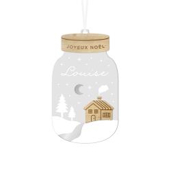 Boule de Noël personnalisée mason jar paysage enneigé