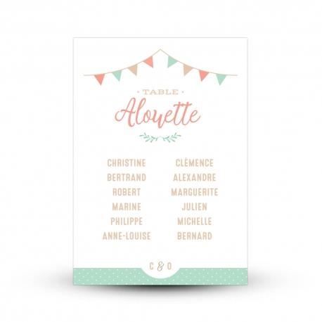 Plan de table personnalisé mariage guinguette