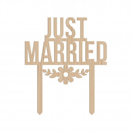 Cake topper mariage original just married wedding cake