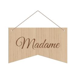 Pancarte bois pour chaise Madame Monsieur