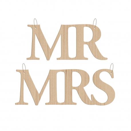 Découpe en bois pour chaise, pancarte Mr et Mrs