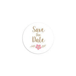 Sticker rond save the date fleuri mariage champêtre