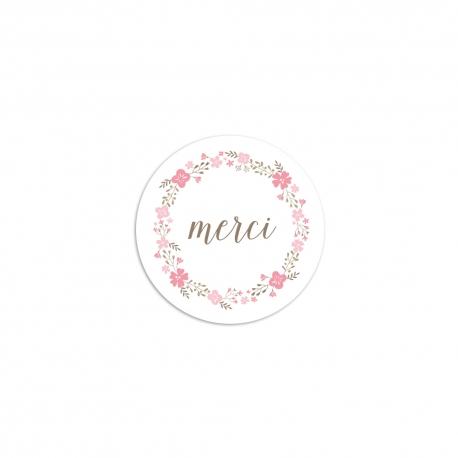 Sticker rond merci fleuri rose mariage champêtre