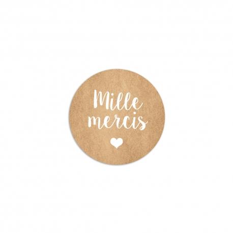 Sticker rond mille mercis fond kraft mariage champêtre bohème