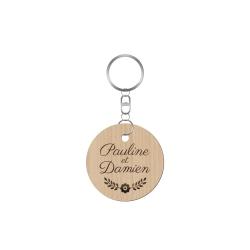 Porte-clé personnalisé mariage champêtre avec prénoms