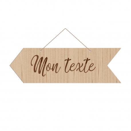Panneau directionnel flèche en bois personnalisable texte sur-mesure