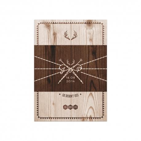 Invitation mariage bohème imprimé bois Natura