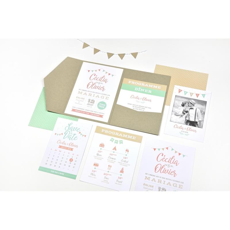 Nouveau Save the date original avec calendrier mémo pour mariage guinguette HC-22