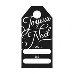 Tampon étiquette personnalisée joyeux noël calligraphie