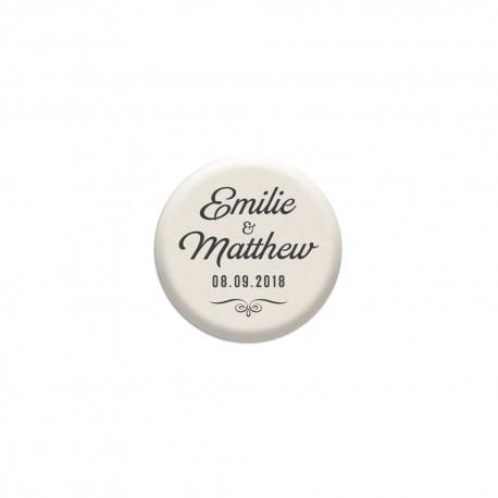 Badge personnalisé pour votre mariage vintage