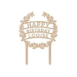 Cake topper personnalisé happy birthday anniversaire couronne de fleurs