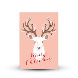 Jolie carte de voeux merry christmas renne blanc scandinave
