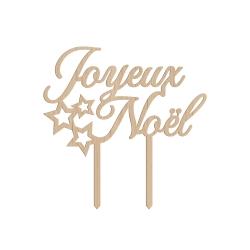Cake topper en bois joyeux noël étoiles décoration de buche