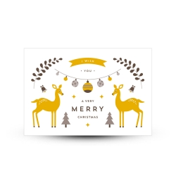 Carte de voeux merry christmas biches scandinave