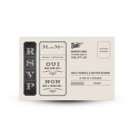 Carte réponse RSVP pour mariage vintage