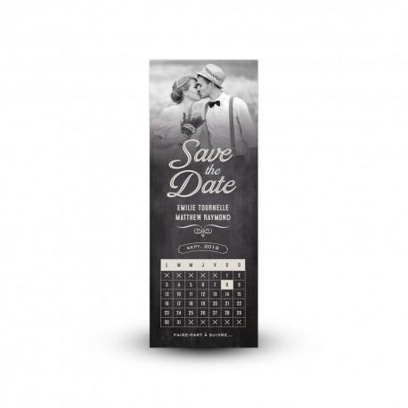Save the date vintage avec photo et calendrier mémo