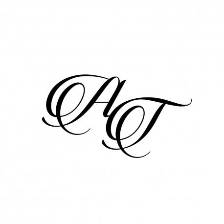Tampon mariage personnalisé initiales calligraphie romantique