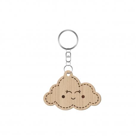Porte clé en bois personnalisé avec prénom nuage fille naissance