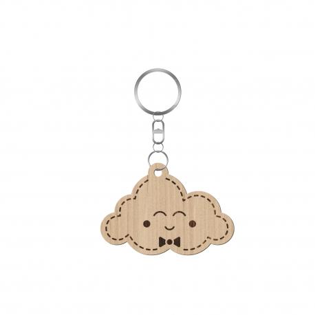 Porte-clé personnalisé original nuage en bois avec prénom et date