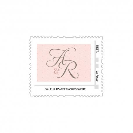 Fichier timbre poste personnalisé mariage Shabby chic rose poudré