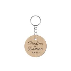 Porte-clé mariage personnalisé prénoms et date gravure sur bois