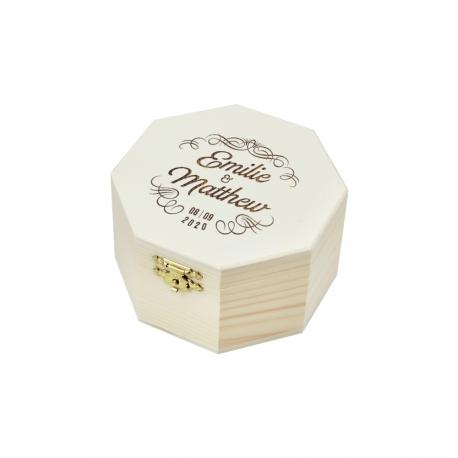 Boite à alliances octogonale en bois personnalisée mariage vintage