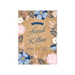 Échantillon invitation Ardoise Fleurie version kraft et bleu roi