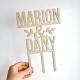 Cake topper mariage personnalisé prénoms en bois, modèle champêtre et nature